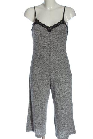 Zara Jumpsuit weiß-schwarz meliert Casual-Look
