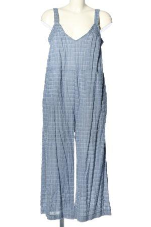 Zara Jumpsuit blau-weiß Karomuster Casual-Look