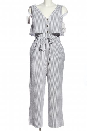 Zara Jumpsuit hellgrau-weiß Streifenmuster Casual-Look