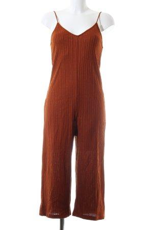 Zara Jumpsuit braun Streifenmuster Casual-Look