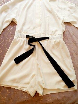 Zara Kurzer Jumpsuit wit-zwart