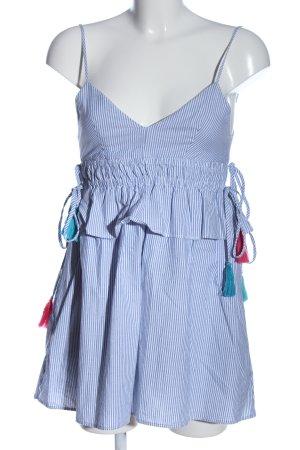 Zara Jumpsuit weiß-blau Allover-Druck Casual-Look
