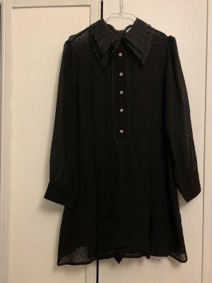 ZARA jumpsuit schwarz Kragen transparent L