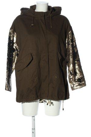 Zara Kurtka z kapturem brązowy-złoto W stylu casual