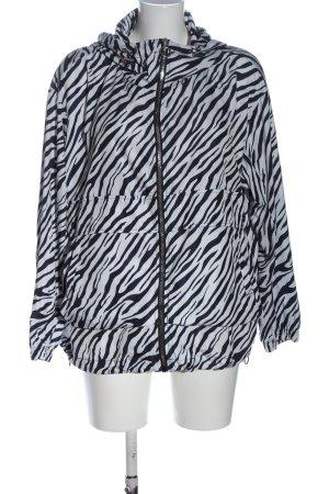 Zara Kurtka z kapturem biały-czarny Na całej powierzchni W stylu casual