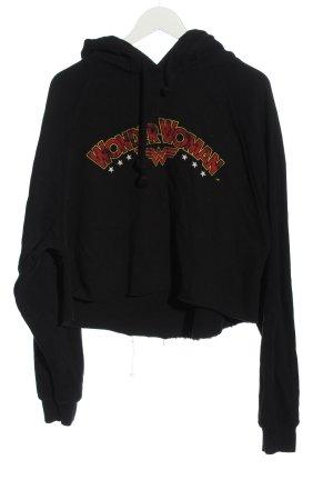 Zara Kapuzensweatshirt schwarz Schriftzug gedruckt Casual-Look
