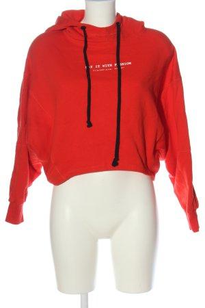 Zara Kapuzensweatshirt rot Schriftzug gedruckt Casual-Look