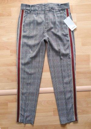 ZARA karierte Hose mit seitlichem streifen XS schwarz-weiß-rot Neu mit Etikett
