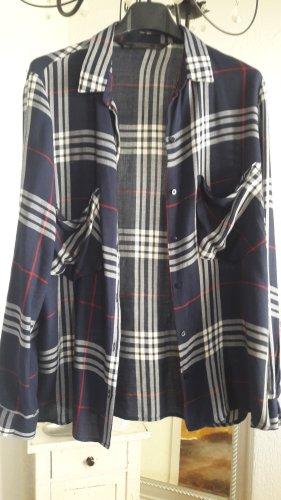 Zara Trafaluc Blouse à carreaux rouge foncé-bleu foncé