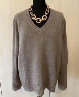 Zara Kaschmir Cashmere Pullover braun V-Ausschnitt blogger