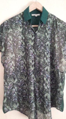 ZARA | kaum getragenes grün-geblümtes Shirt mit schönem Rückenausschnitt
