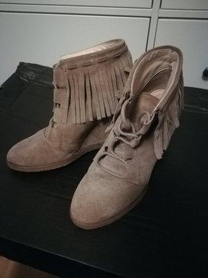 Zara Wedge Booties beige