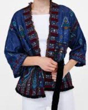 Zara Kimono-Bluse mit Stickerei