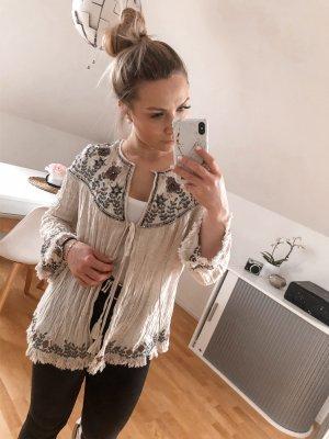 Zara Sweter bez rękawów z cienkiej dzianiny w kolorze białej wełny-kremowy