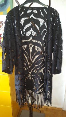 Zara Crochet Cardigan black mixture fibre