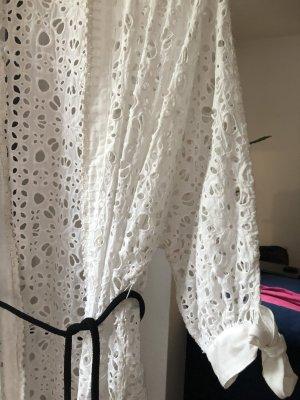 Zara Kurtka oversize biały-czarny Tkanina z mieszanych włókien
