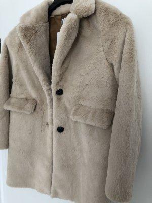Zara Płaszcz ze sztucznym futrem w kolorze białej wełny-jasnobeżowy