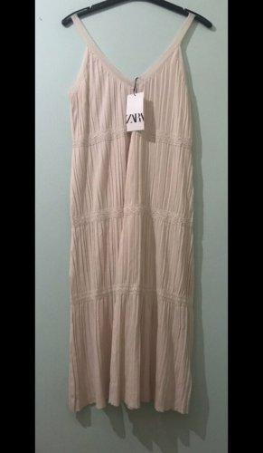 Zara Letnia sukienka kremowy