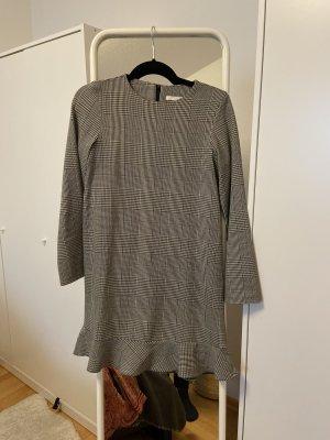 Zara Sukienka z baskinką szaro-brązowy
