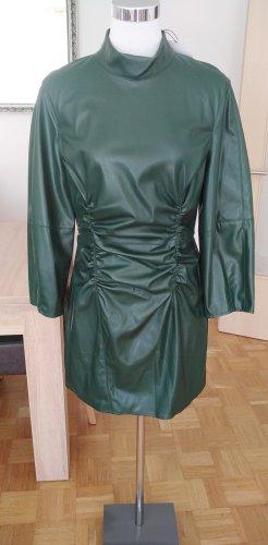 Zara Skórzana sukienka leśna zieleń-khaki