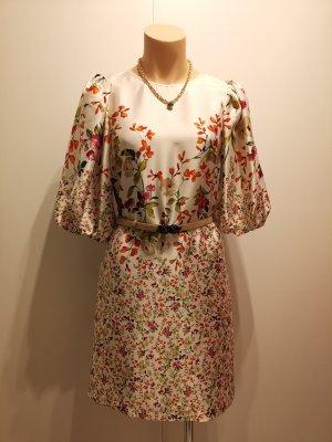 ZARA Kleid allover Blumen Print Tunika floral geblümt weiß 2713/244 M 36 38 bunt