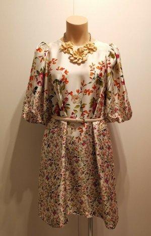 ZARA Kleid allover Blumen Print Tunika floral geblümt weiß 2713/244 S 36 38 bunt