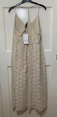Zara Kleid bestickt floral beige nude rosa Gr. S Neu