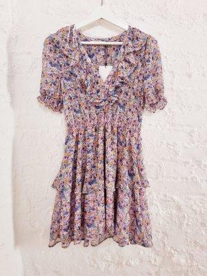 Zara Kleid Blumen Volants Rüschen bunt L