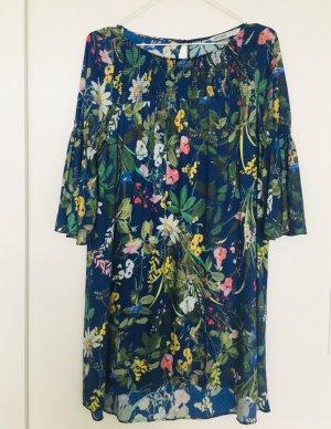 Zara Kleid Blumenmuster floral Sommerkleid bunte blau pink gelb