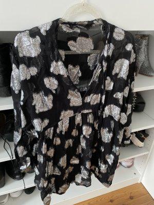 Zara kleid Bluse schwarz/ Silber oversize Floral