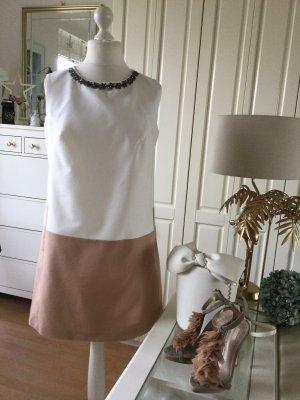 Zara Kleid Colorblocking weiß camel Schmucksteine Gr. L