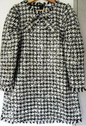 Zara Kleid Dress Minikleid Hahnentritt Schwarz Weiß Pailletten Fransen Gr S