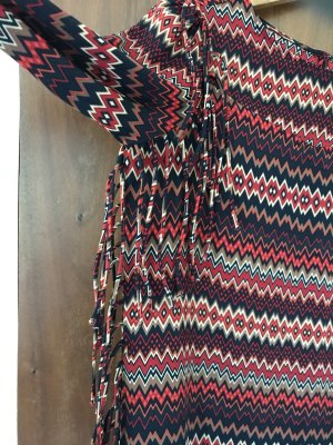 Zara Woman Fringed Dress multicolored