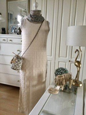 Zara Kleid Etuikleid Strickware sandfarben Strivkblenden Gr. M neu mit Etikett