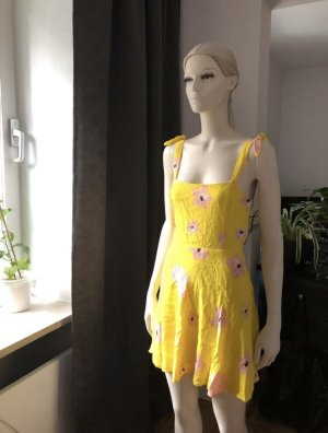 Zara Kleid Gelb Blumen Rosa M Frühling Sommer Hängerchen Schleifen