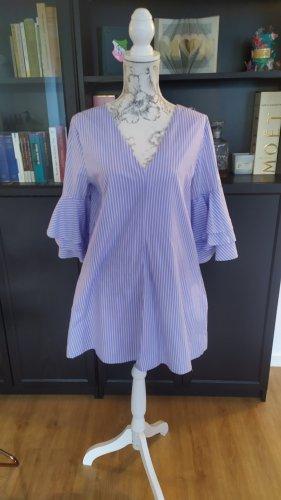 Zara Kleid gestreift mit Rüschen Ärmel Gr. L blau weiss