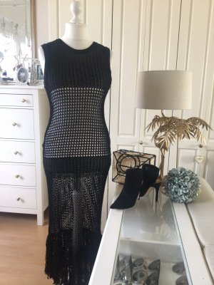 Zara Kleid Häkelkleid Maxi schwarz mit Fransen Gr. L. Neu mit Etikett.