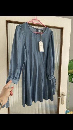 Zara Vestido vaquero azul acero