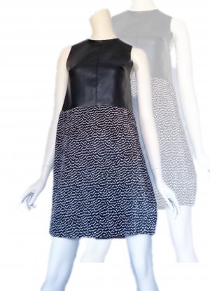 Zara Trafaluc Robe en simili blanc-noir