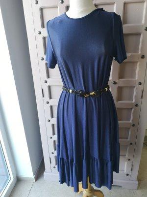 Zara Vestido estilo flounce azul oscuro