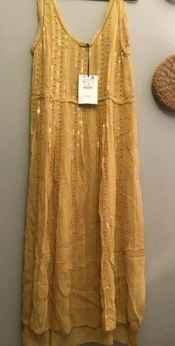 Zara Kleid Limited Edition Gelb bestickt mit Pailletten Gr. M neu mit Etikett