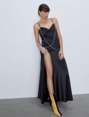 Zara Kleid Maxi Midi Ketten Chain Satin Lingerie Volant Trend Blogger Musthave