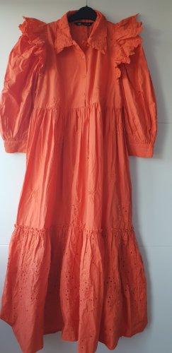 Zara Kleid Midikleid mit Lochstickerei orange Kleid