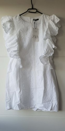 Zara Kleid Mini weiß mit Lochstickerei Baumwolle