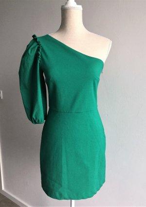 Zara Kleid Minikleid asymmetrisch grün Partykleid Puffärmel M 36 38