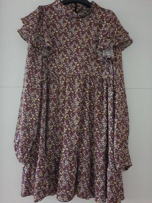 Zara Kleid Minikleid mit Volant und Blumenprint, Grösse L