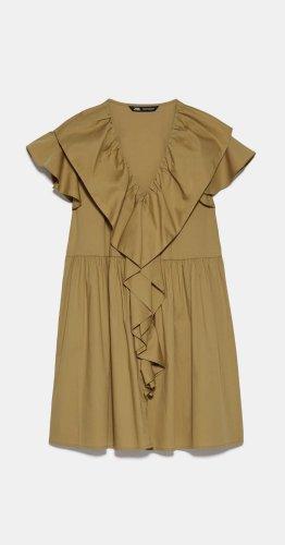 Zara Kleid Minikleid Rüschen Blogger Volants Khaki