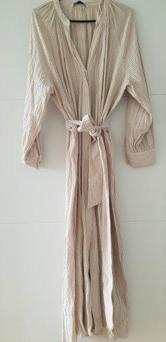 Zara Kleid mit Gürtel Midikleid sandfarben