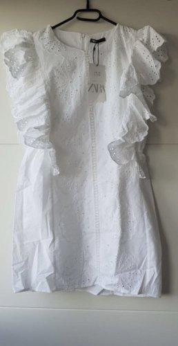 Zara Kleid mit Lochstickerei weiß
