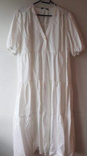 Zara Kleid mit Popelin Weiß Midikleid